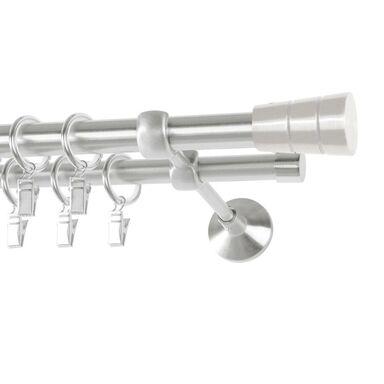 Karnisz SYCYLIA 240 cm podwójny satyna 20/16 mm metalowy