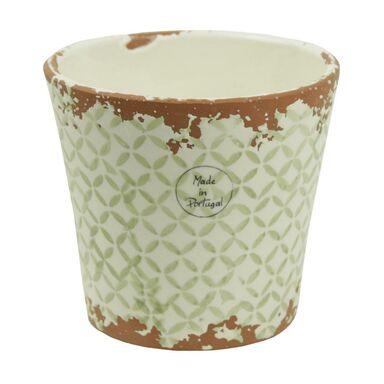 Osłonka ceramiczna 14 x 14 cm biało-zielona 985258 KAEMINGK