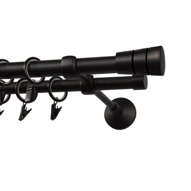 Karnisz SYCYLIA 200 cm podwójny czarny mat 20/16 mm metalowy