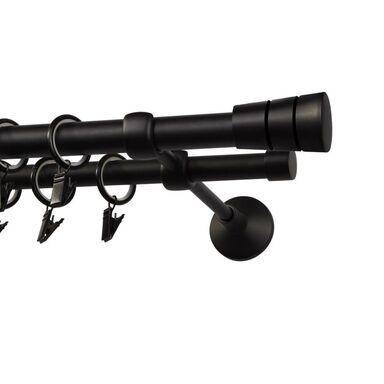 Karnisz SYCYLIA 240 cm podwójny czarny mat 20/16 mm metalowy