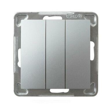 Włącznik potrójny IMPRESJA  Srebrny  OSPEL