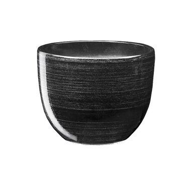 Doniczka ceramiczna 13 cm czarno-srebrna BARYŁKA EKO-CERAMIKA