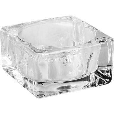 Świecznik szklany KWADRAT MAXI wys. 4.2 cm transparentny