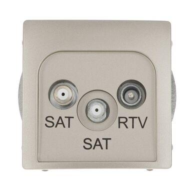 Gniazdo RTV SAT KOŃCOWE PODWÓJNE BASIC  Srebrny  KONTAKT SIMON