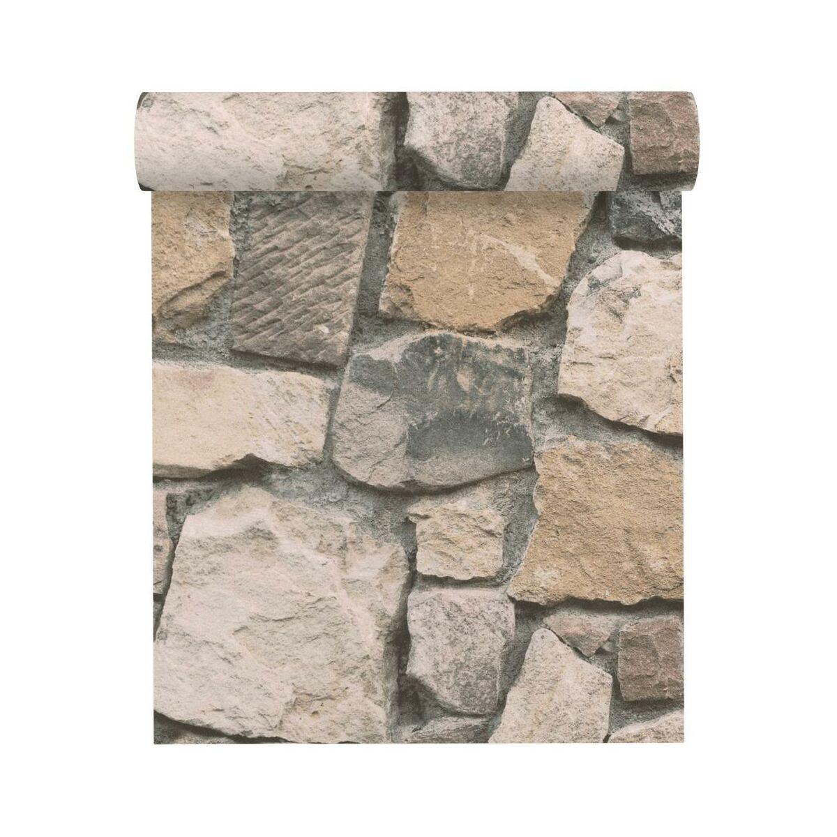 Tapeta 3d Kamienie Kremowo Szara Imitacja Kamienia Papierowa Tapety W Atrakcyjnej Cenie W Sklepach Leroy Merlin