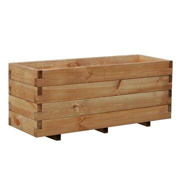 Donica ogrodowa 93 x 31 cm drewniana brązowa DOMINO WERTH-HOLZ
