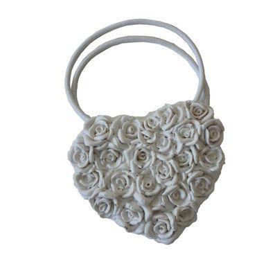 Upinacz do zasłon z magnesem Floral Heart biały