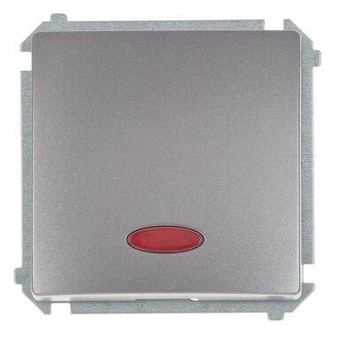 Włącznik pojedynczy z podświetleniem BASIC  inox  SIMON