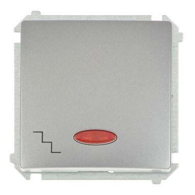 Włącznik schodowy z podświetleniem BASIC  inox, metalizowany  SIMON