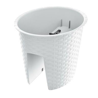 Doniczka balkonowa 29.8 x 24.2 cm plastikowa biała RATOLLA RAILING OVAL PROSPERPLAST