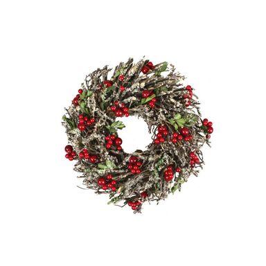 Wianek świąteczny jarzębina 26 cm pleciony