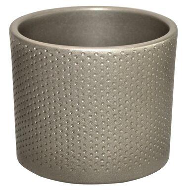 Osłonka ceramiczna 11.9 cm srebrna perłowa WALEC CERAMIK