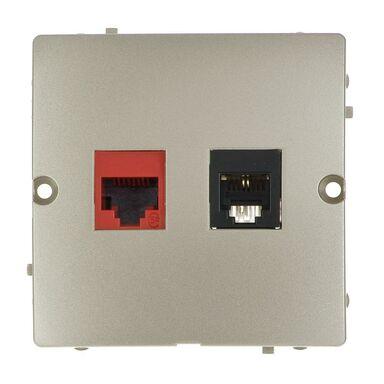 Gniazdo telefoniczno-komputerowe RJ11 / RJ45 BASIC  satyna  KONTAKT SIMON