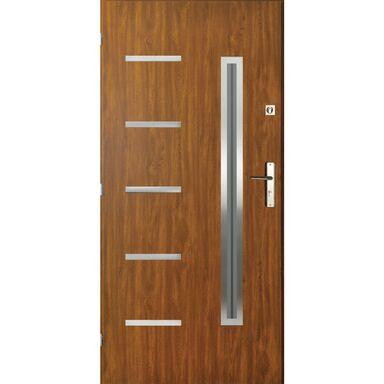 Drzwi zewnętrzne stalowe Nike złoty dąb 90 Lewe Pantor