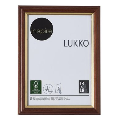Ramka na zdjęcia LUKKO 13 x 18 cm złoty orzech drewniana INSPIRE