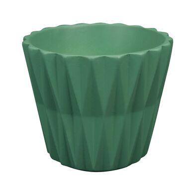 Osłonka na doniczkę 19 cm ceramiczna zielona GEOMETRIC