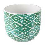 Osłonka doniczki ceramiczna 14 cm zielono-biała HAKON