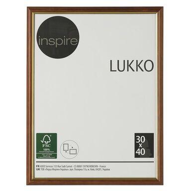 Ramka na zdjęcia Lukko 30 x 40 cm złoty orzech drewniana Inspire