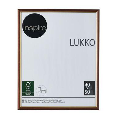 Ramka na zdjęcia Lukko 40 x 50 cm złoty orzech drewniana Inspire