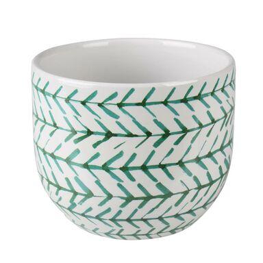 Osłonka doniczki ceramiczna 12 cm zielono-biała MATS