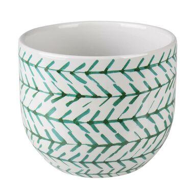 Osłonka doniczki ceramiczna 14 cm zielono-biała MATS