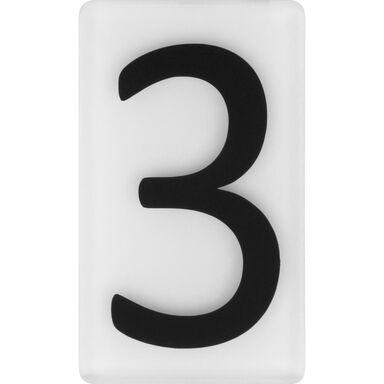Cyfra 3 wys. 5 cm plexi czarna na białym tle