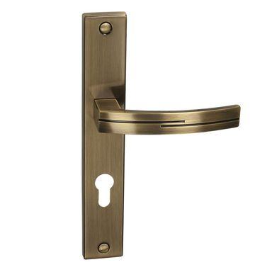 Klamka drzwiowa z długim szyldem do wkładki FLODEN 72 Mosiądz antyczny INSPIRE