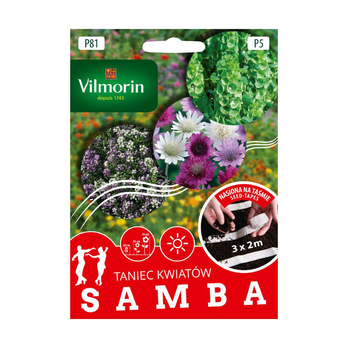 Mieszanka kwiatów SAMBA nasiona na taśmie 3 x 2 m VILMORIN