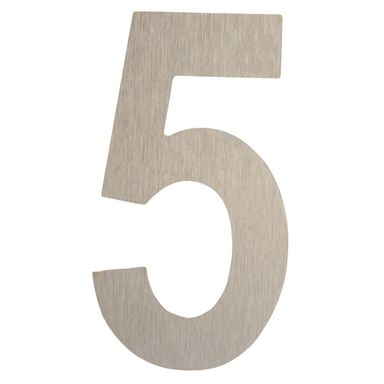 Cyfra 5 wys. 5 cm metalowa srebrna