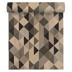 Tapeta ze wzorem geometrycznym brązowa winylowa na flizelinie
