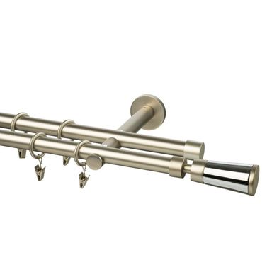 Karnisz DANCE ABRA 200 cm podwójny satyna 19 mm metalowy