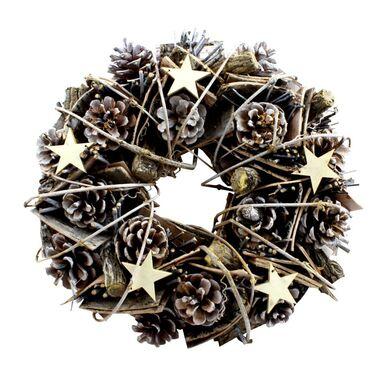 Wianek świąteczny 32 cm bożonarodzeniowy z szyszkami brązowo-złoty