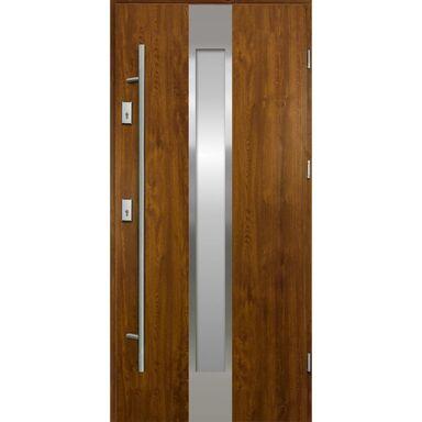 Drzwi zewnętrzne stalowe  Neptun Złoty dąb 90 Prawe Ok Doors Trendline