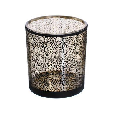 Świecznik szklany na tealighty wys. 8 cm czarny