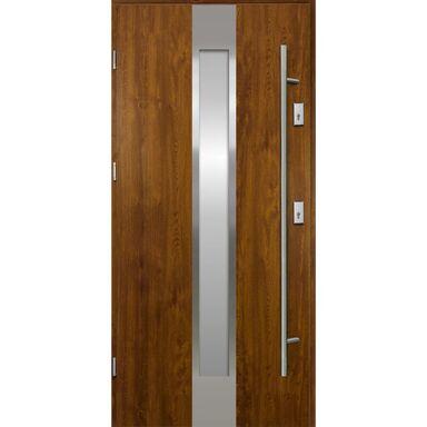 Drzwi zewnętrzne stalowe  Neptun Złoty dąb 90 Lewe Ok Doors Trendline