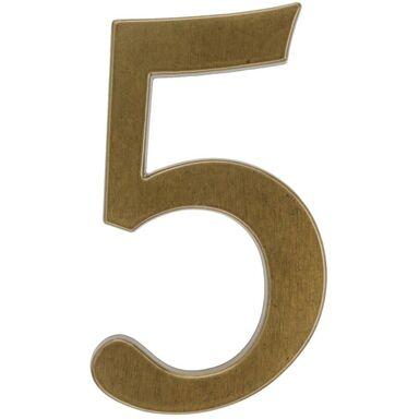 Cyfra 5 wys. 19 cm aluminiowa brązowa