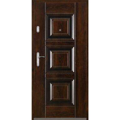 Drzwi zewnętrzne stalowe  QUADRAT 2 Mahoń 80 Prawe