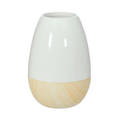 Wazon ceramiczny wys. 19 cm biało-beżowy