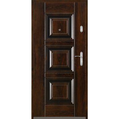 Drzwi zewnętrzne stalowe  QUADRAT 2 Mahoń 80 Lewe
