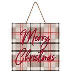 Tabliczka świąteczna Krata szara 30 x 30 cm