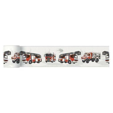 Bordiura dziecięca PONESA  13 cm x 5 m szaro-czerwona