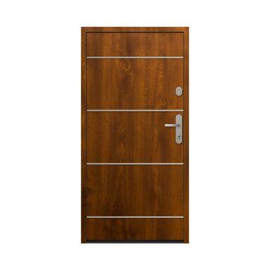 Drzwi zewnętrzne stalowe antywłamaniowe RC2 Alberta Złoty Dąb 90 lewe Loxa