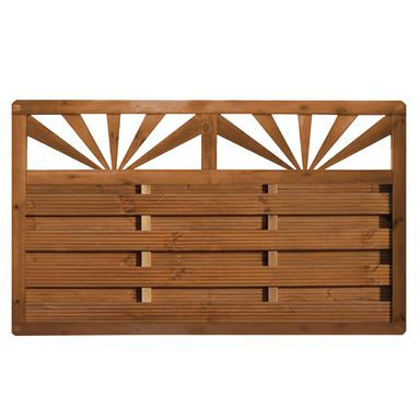Płot szczelny z dekorem 180x90 cm drewniany SUNRISE WERTH-HOLZ