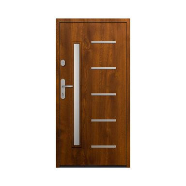 Drzwi zewnętrzne stalowe antywłamaniowe RC2 Waterloo 90 Prawe złoty dąb Loxa